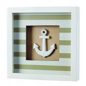 Cuadro decoración marinera a rayas beige con ancla náutica