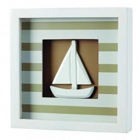 Cuadro decoración náutica a rayas beige con velero marino