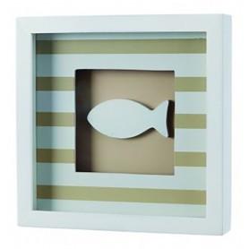 Cuadro marinero con pez blanco y rayas para decoración marinera.