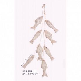 Colgante náutico con ocho peces tallados madera