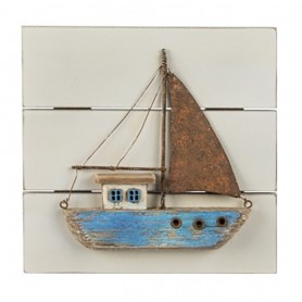 Cuadro marino velero madera y metal