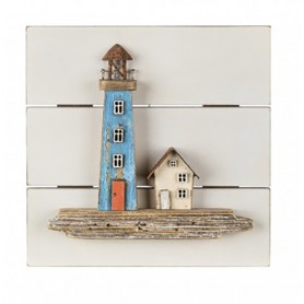 Cuadro marino faro y casa