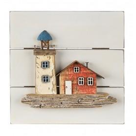 Cuadro náutico faro y casa madera para decoración marinera