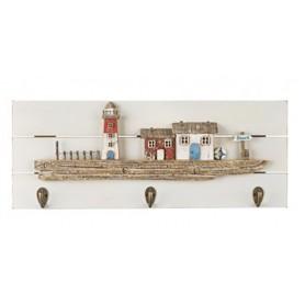 Colgador náutico faro y casas en madera para decoración marinera