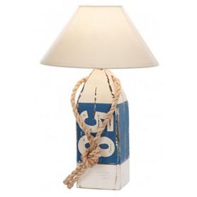 Lámpara náutica en baliza de madera