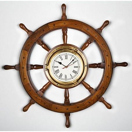 Rueda de timón náutica con reloj de latón