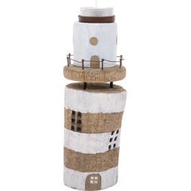 Portavelas madera faro decorativo