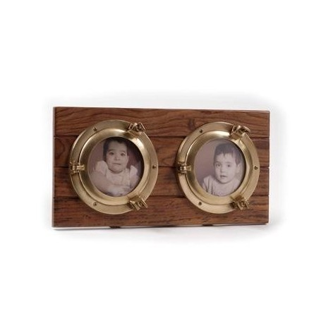 Portafotos con dos ojos de buey de latón
