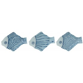 Juego tres boles pescado azules en cristal