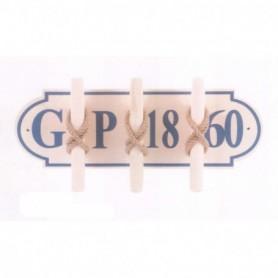 Perchero náutico placa de madera con tres cornamusas
