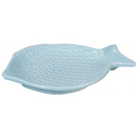 Plato decoración náutica pez marinero porcelana