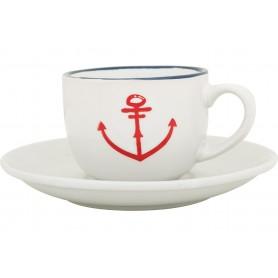 Taza y plato de café marinero juego de 6