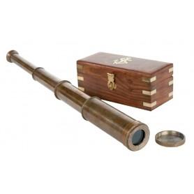 Catalejo náutico de latón envejecido con caja de madera