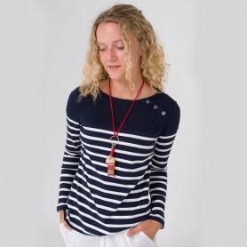 Camiseta a rayas con botones mujer
