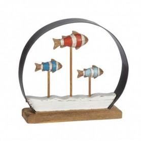 Escultura banco de peces rústica
