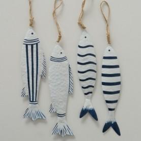 Colgante marinero peces a rayas de hierro