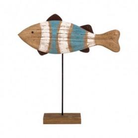 Figura pez sobre peana de madera