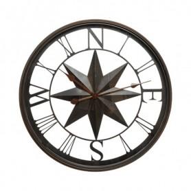 Reloj de pared rosa de los vientos en metal