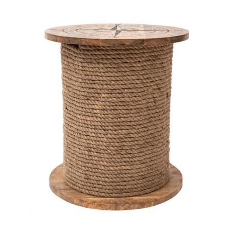 Mesa bobina de cuerda de madera
