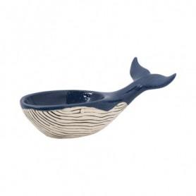 Figura cuenco ballena cerámica azul