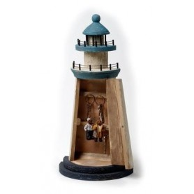 Faro armario náutico cuelga llaves en madera
