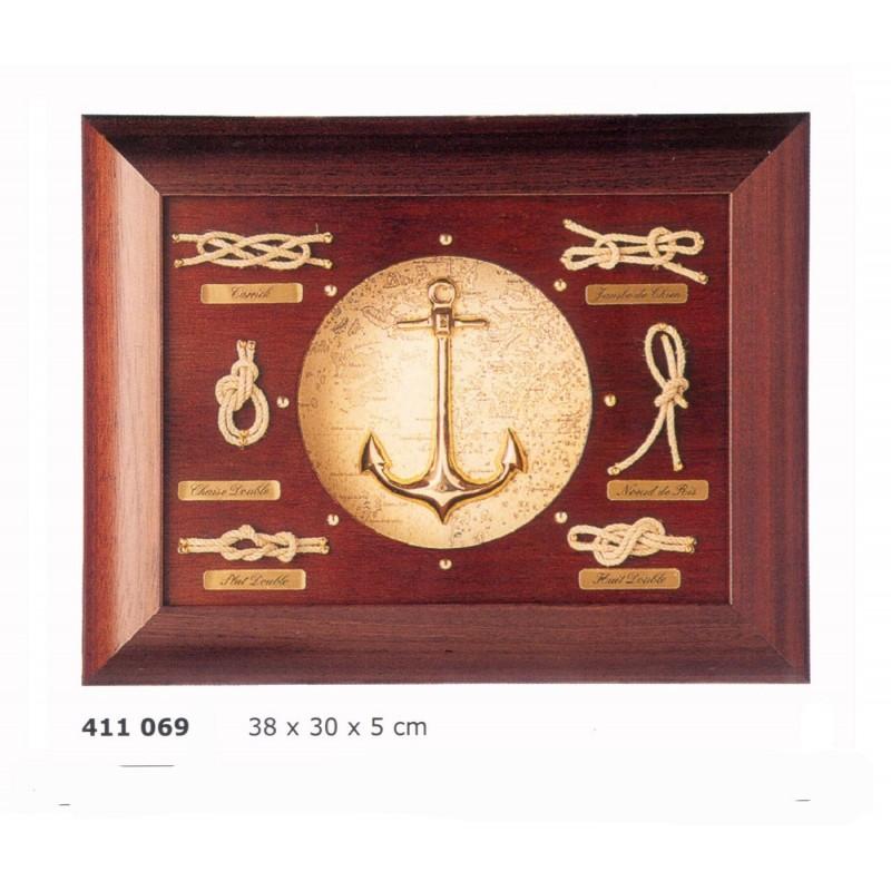 Cuadro de nudos marineros y ancla de lat n - Nudos marineros decorativos ...