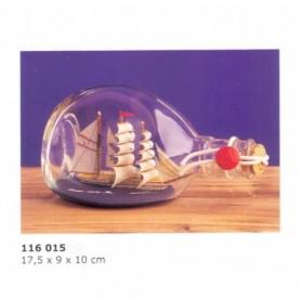 Miniatura naval de velero de época en botella