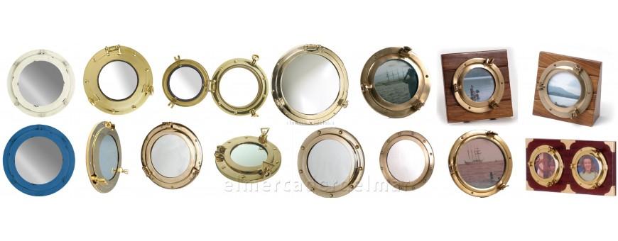 Ojos de buey y espejos decoración náutica