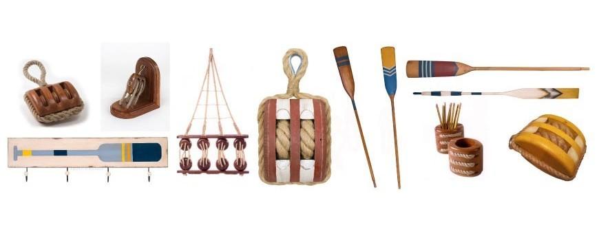 Remos decoración y poleas para decoracion marinera y náutica